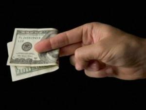 $100 bill handover